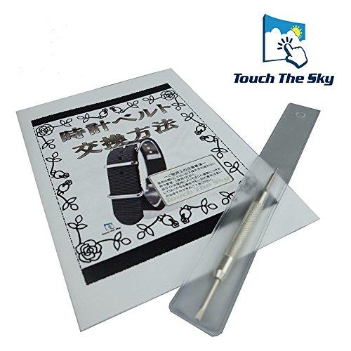 『【タッチ・ザ・スカイ】Touch The Sky 腕時計 ベルト 本革 クロコダイル型押し ベルト白×ステッチ同色/18mm』の1枚目の画像