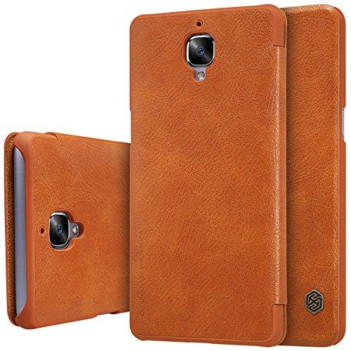 HS-TOP Oneplus 3Leather Case, Nillkin Qin Smart Case Card Slot conque PU Leder Flip Schutzhülle für OnePlus 3A3000, braun