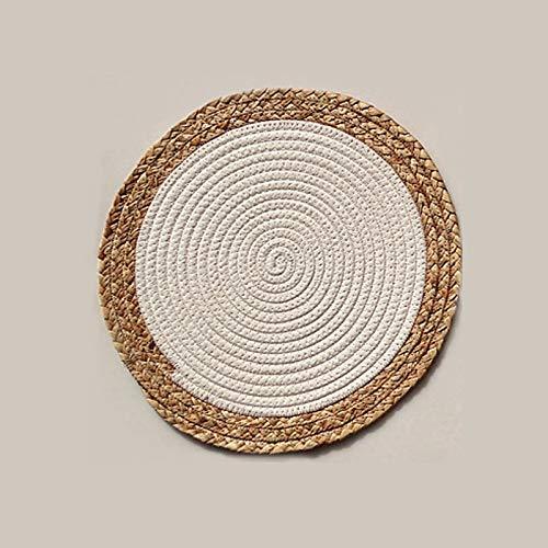 Mantel individual europeo de lino productos manteles individuales de paja y cuerda de algodón, mesa gruesa antideslizante, aislamiento anti-calor, color blanco, 36 cm