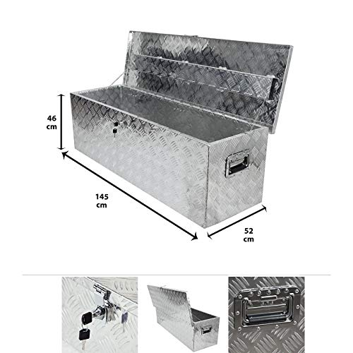 Grafner Aluminium Box 347 Liter aus massivem Riffel-Blech, mit Schloss & 2 Schlüssel und Griffen, 1450 x 520 x 460 mm, Transportbox Transportkiste Munitionskiste Werkzeug Alu Kiste