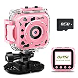 Ourlife Kids Waterproof Camera, Kids Camera for 3-12 Year Old Boys Girls Christmas Birthday Gifts Camera for Kids Underwater Sports Camcorder Camera 1.77 Inch Screen with 8GB Card (Pink)