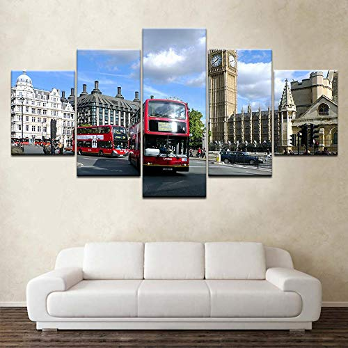 Suuyar Canvas Wallpapers moderne Poster art Canvas Big Ben Straat bus stadsgezicht 5 Stuk schilderij voor Woonkamer Home Decor-30x40 30x60 30x80cm geen frame