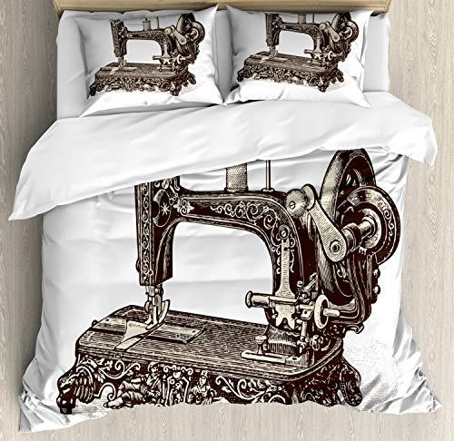 ABAKUHAUS Steampunk Dekbedovertrekset, Oude naaimachine, decoratieve 3-delige bedset met twee sierslopen, Donkerbruin en ivoor