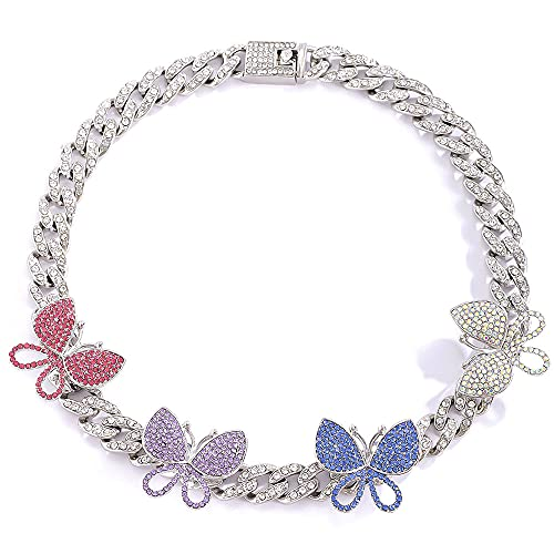 Apzzic 8mm Iced Out Chain Butterfly Cuban Link Choker Necklace Cubic Zirconia Bling Diamond Shiny Crystal Choker Necklace for Girls Women 16inch