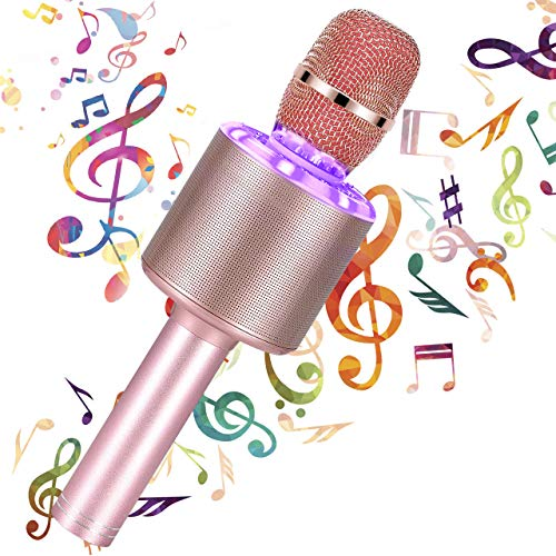Micrófono Karaoke Bluetooth, 4 en1 Microfono Inalámbrico Karaoke Micrófono Portátil con Luces LED, para Niños y Partido, Compatible con Android, iOS, Teléfono Inteligente