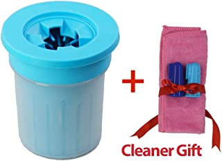 Nobelix Portable Dog Paw Cleaner Cup + Towel + Toothbrush New Generation Pet Foot Washer Soft Silicone Comfortable Dirty Muddy Cat Brush Sand Ice Dry Bath Handy Gentle Bristles Grooming