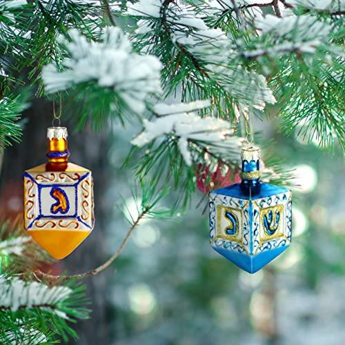 Dreidel Ornaments Set of 2 Hanukkah Tree Decorations Small Jewish Ornaments Hanukkah Dreidel Hanukkah Decorations Glass Hanging Pendant for Christmas Tree Wall Home Door Wreath Hanging Blue Gold