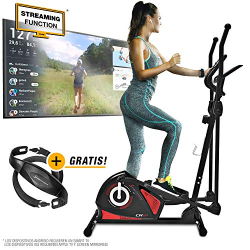 Sportstech CX608 Bicicleta elíptica Cross Trainer con aplicación para smartphone, Bluetooth, cinturón...