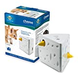 """PetSafe Automatic Cheese Cat Toy, Interactive Electronic Mouse Hunt, Durable Toy with Multiple Play Modes, Fun for Kittens to Pounce and Play, White/Yellow, 5"""" x 5.75"""" x 7.5"""" (536161)"""