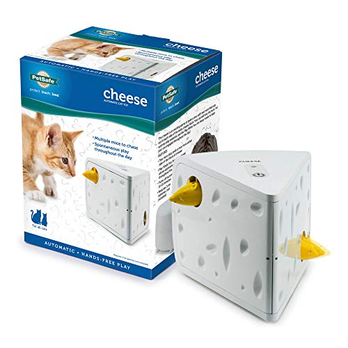 PetSafe Automatic Cheese Cat Toy, Interactive Electronic Mouse Hunt, Durable Toy With Multiple Play Modes, Fun for Kittens to Pounce and Play, White/Yellow, 5' x 5.75' x 7.5' (536161)