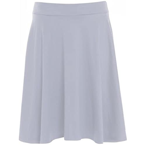 9acf7852948 Womens Plain Soft Stretch Ladies Elasticated Waistband Knee Length Full Fla  Swing Skater Midi Skirt