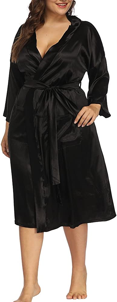 ALLEGRACE Women's Plus Size Robes Silky Satin Long Kimino Bridesmaids Sleep Lounge Robe