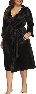 Women's Plus Size Robes Sexy Satin Pajamas Wrap Sleepwear Pocket Long Kimino Robe