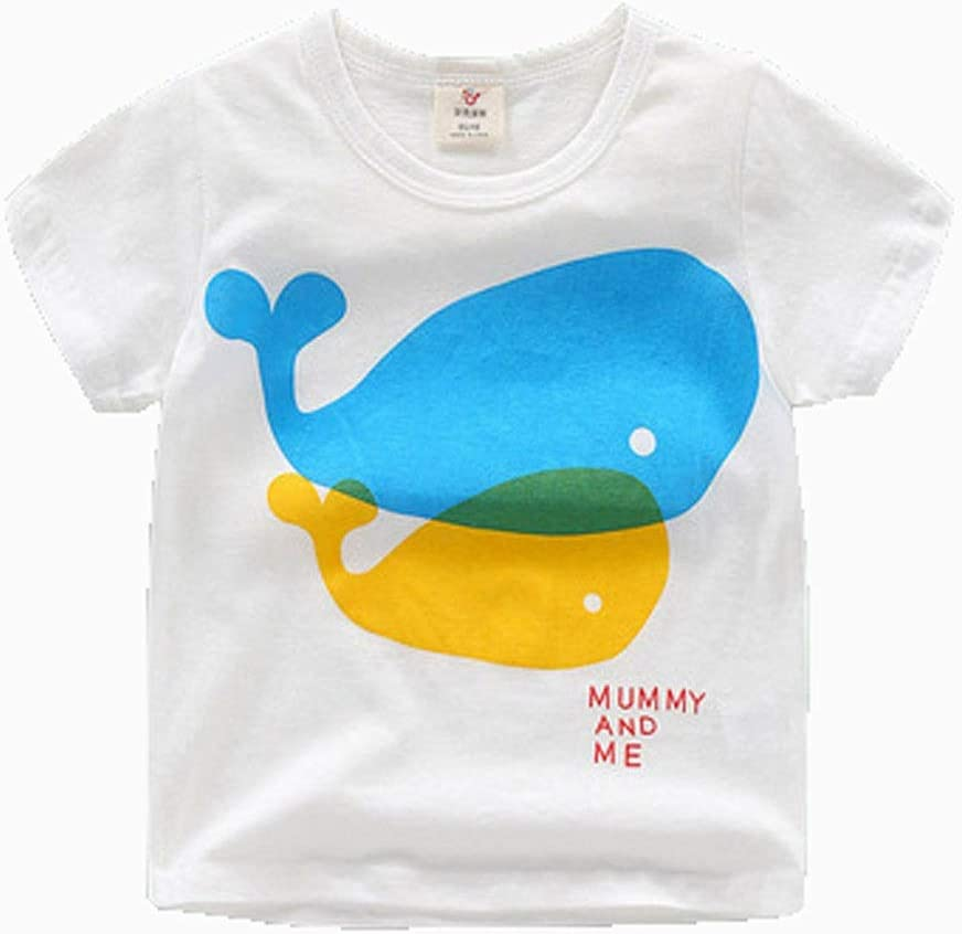 Short-Sleeved t-Shirt Summer Clothes Boys and Girls Kid's Cartoon Round Neck top Cotton Cotton T-Shirt Suitable for Kid with a Height of 90CM-140CM Soft (Color : B, Size : 140CM)