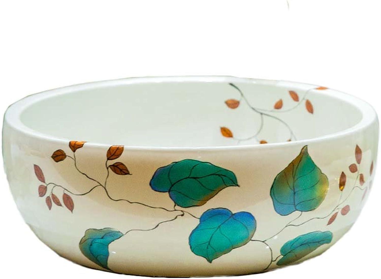 WINZSC Badezimmer einfache Keramik Waschbecken Kunst über Zhler Becken Waschbecken Waschbecken über Zhler Becken Runde LO618533 (Farbe   Only Sink)