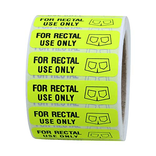 """Hybsk for Rectal Use Only Stickers 1.5"""" x .375"""" Fluorescent Yellow Stickers with Permanent Adhesive 500 Labels Per Roll (Fluorescent Yellow)"""