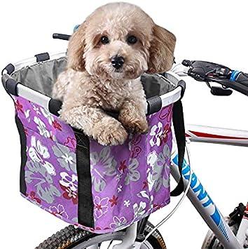 ACESPORT Cesta plegable para bicicleta de viaje para mascotas pequeñas, gatos, perros, picnic, compra delantera