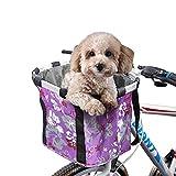 ACESPORT Cesta de bicicleta de viaje plegable Cesta de bicicleta de viaje para mascotas pequeñas, gato, perro, transporte frontal, compras de picnic (morada)