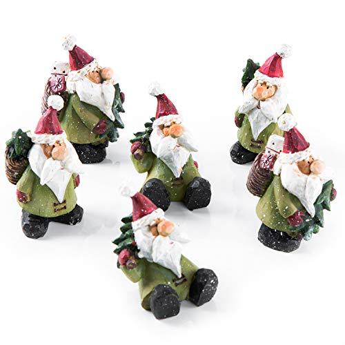 Logbuch-Verlag 6 figuras pequeñas de Papá Noel, 7 – 8 cm, color verde y rojo, como regalo de Papá Noel para niños, clientes, colegas