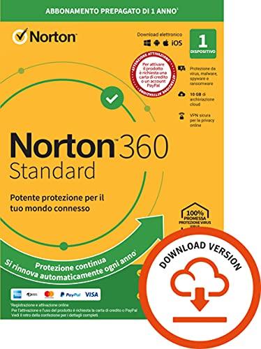 Norton 360 Standard 2021, Antivirus per 1 Dispositivo, Licenza di 1 anno con rinnovo automatico, Secure VPN e Password Manager, PC, Mac, tablet e smartphone, Codice d'attivazione via email