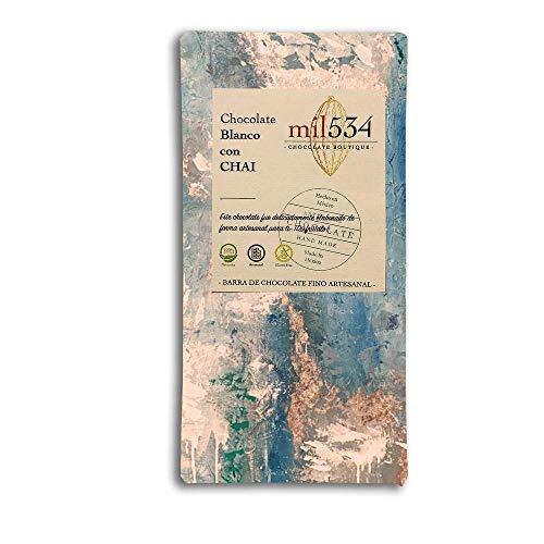 Chocolate BLANCO CON CHAI barra de 90 grs. - Natural / Artesanal / Cacao Sustentable / Sin Gluten