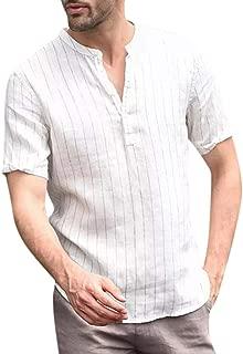Men's Original Fashion Shirt, MmNote V-Neck Stripe Design Casual Cool Quick Button Athletic Classic Short Sleeve