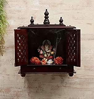 TAM Creatio Small Wooden Pooja Mandir |Indian| |Hindu| |Decoration| |Puja| |Cabinet| |Temple| |Bhagwan| |Stand| |Mandapam|...