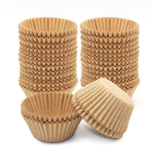 400Pcs Cupcake Liners Unbleached Muffin Liners Greaseproof Paper Baking Cups Natural Paper Cupcake Liners Standard Size Cup for Baking Muffin and Cupcake, Natural Color