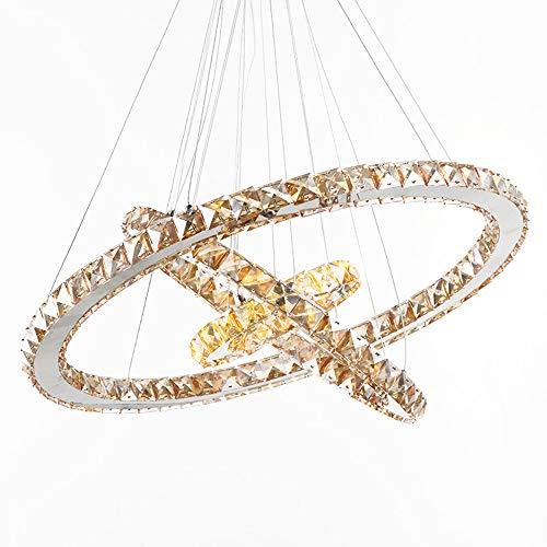 LED Kronleuchter runde moderne Kristall Deckenleuchte Schlafzimmer Wohnzimmer Esszimmer Lampe dimmbare Edelstahl Kronleuchter (Gelbes Licht, 70 * 50 * 30cm)