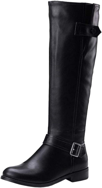 Melady Women Fashion Low Heels Knee Boots Zipper
