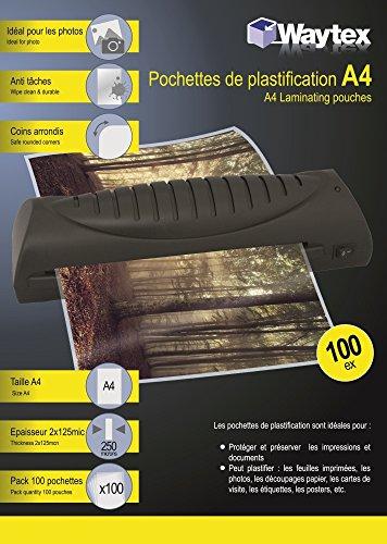 Waytex 78272 Pack de 100 Pochettes de plastification A4 250 microns Transparent