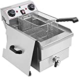 LKZAIY Deep Fryer 3000W / 220V Commercial Electric Fryer with Basket, 8.5 QT Professional Countertop Induction Oil Fish Deep Fryer with Drain System & Timing-Temperature Control Function for Commercial and Home Use