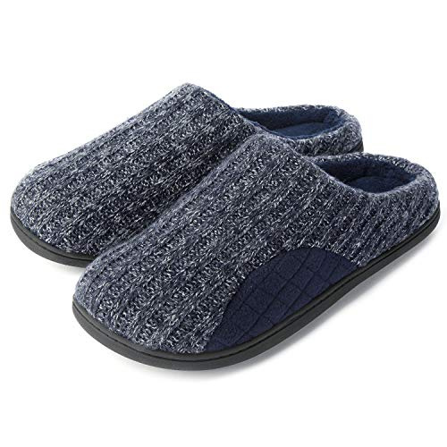 ULTRAIDEAS Men's Cashmere Cotton Knitted Slippers with Cozy Memory Foam and Fuzzy Coral Fleece Lining, Slip on Clog House Shoes with Anti-Skid Indoor Outdoor Rubber Sole (Navy, 13-14)