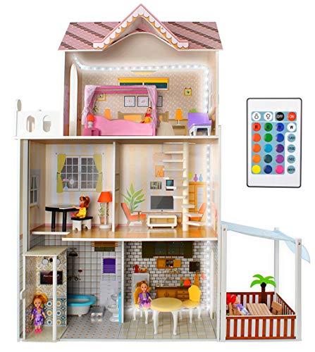 KRUZZEL Puppenhaus Puppen-Villa mit Zubehör aus Holz 120 cm hoch Mädchen Spielzeug ab 3 Jahren 9152
