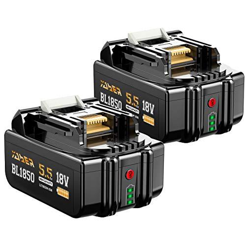 YABER 18V 5.5Ah Batería 2X Batería Compatible con 18V LXT-400 BL1860B BL1860 BL1850B BL1850 BL1840B BL1840 BL1830B Taladros y Herramientas inalámbricos para DC18RC DC18RD 18V C a rgador