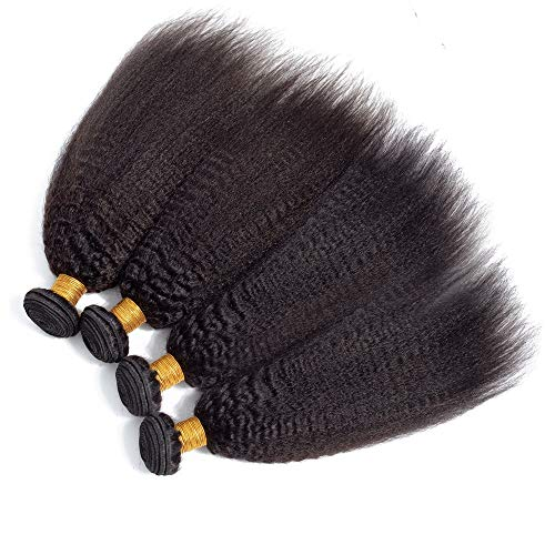 Brazilian Kinky Straight Bundles Human Hair(10 10 10 10)50g/Bundle Yaki Kinky Straight Human Hair Extensions 4 Bundles Upgrade 8A+ Brazilian Virgin Human Hair Natural Color