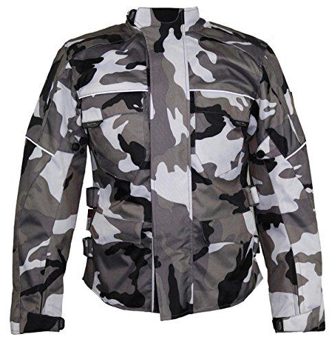MDM Motorrad Textil Jacke Motorradjacke Racing Wasserdicht Schutzjacke Sommer Camo Camouflage (3XL)