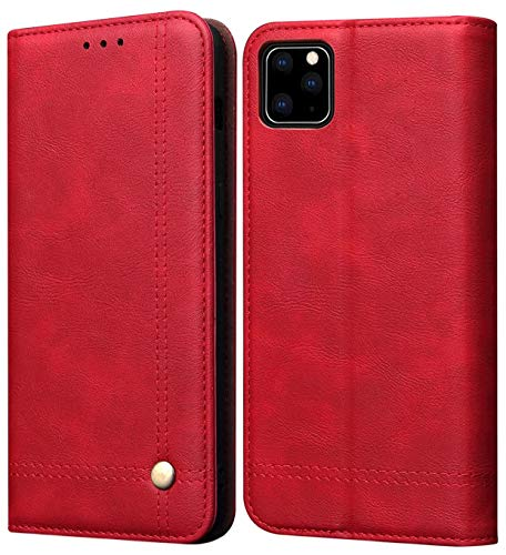iPhone 11 Pro Max Case, SINIANL Leather Wallet Case Magnetic Closure with Kikstand & Card Slot Flip Cover for Apple iPhone 11 Pro Max 6.5 inch 2019 - Red