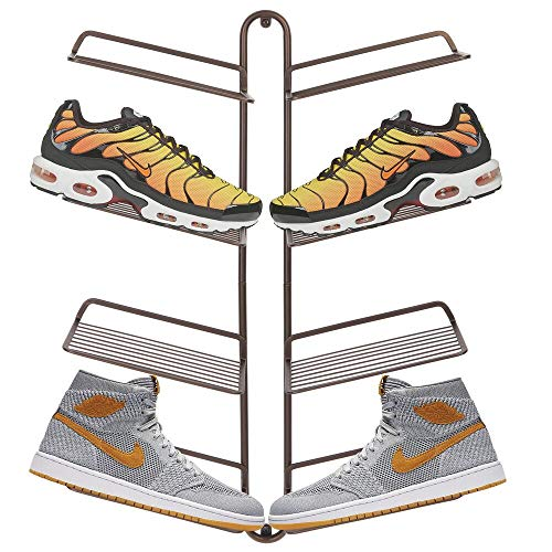 mDesign Shoe Rack – Adjustable Shoe Storage for 4 Pairs of Trainers, Sports Shoes and More – Space-Saving Wall-Mounted Shoe Rack – Bronze