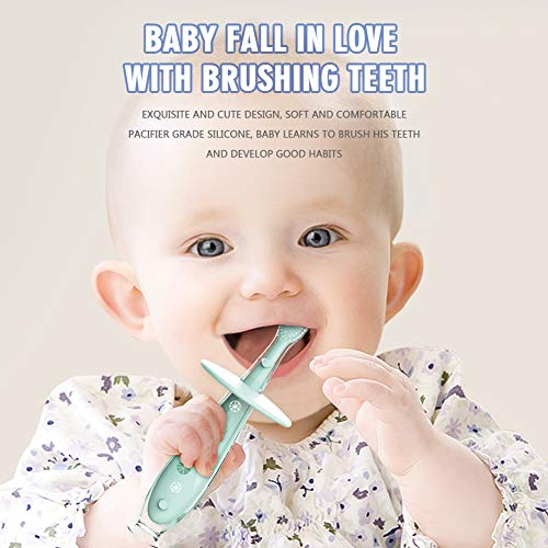Baby Toothbrush Silicone Eccomum 2 Pack Infant Training Toothbrush, 100% Food Grade Silicone, Extra Soft/Tough Bristles, BPA/PVC/Phthalate Free, Anti-Choking/Anti-Fall Design, Unisex (2 Pack)