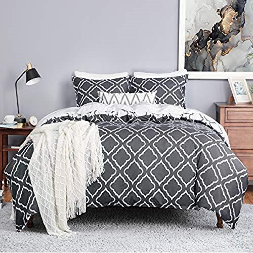 Bedsure Bettwäsche 155X220 Mikrofaser 3 teilig - dunkelgrau Bettbezug Set mit Gitter Muster, weiche Flauschige Bettbezüge mit Reißverschluss und 2 mal 80x80cm Kissenbezug