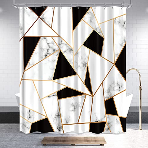 Riyidecor Fabric Marble Shower Curtain Set for Bathroom Decor 72Wx72H Inch Abstract Black White Geometric Bath Accessories for Men Kids Stone Surface Pattern Art Printed 12 Pack Plastic Hooks