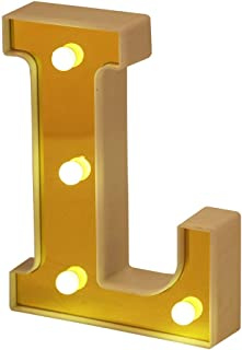 Hon Plume LED Marquee Letter Lights 26 Alphabet Light Up Letters Battery Power Golden Sign LED Wall for Home Bar Festival Christmas Lamp Night Light Birthday Party Wedding Decorative (L)