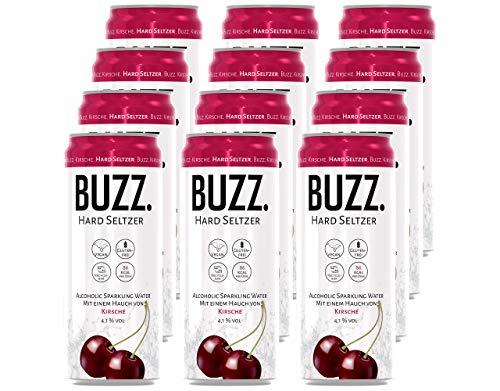 BUZZ. Hard Seltzer Kirsche; 4.1% vol. (12 x 0,33L) EINWEG, incl. 3€ Pfand