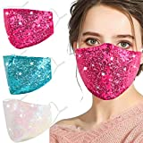 Washable Sequin Bling Face Mask for Women Adult,Decorative Sparkly Fashion Cover Rhinestone Glitter Bedazzled Reusable Breathable Pretty Design Cloth Cotton Cute Adjustable Ear Loops Madks mascarilla