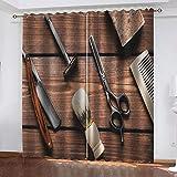 Ahooseso® Cortinas opacas 3D Barber Shop Tools, sala de estar, dormitorio, baño, cocina, poliéster súper suave, aislamiento térmico, cortinas de reducción de ruido, 220 x 215 cm