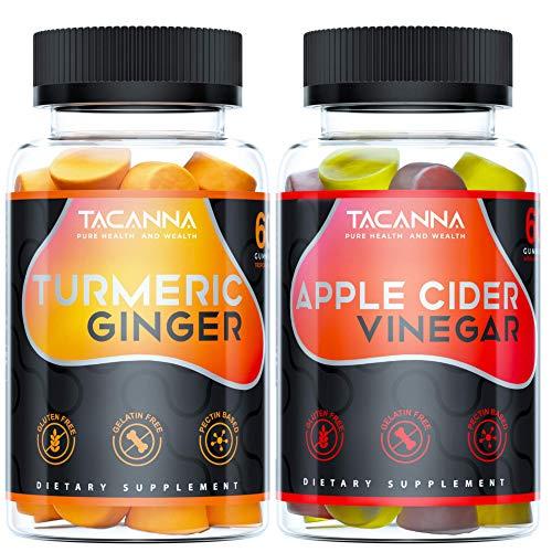 Tacanna Turmeric Ginger Gummies - Curcumin and Apple Cider Vinegar Gummies 2 Pack Bundle for Kids Adults Immune Boost Digestion Anti Inflammatory and Detox
