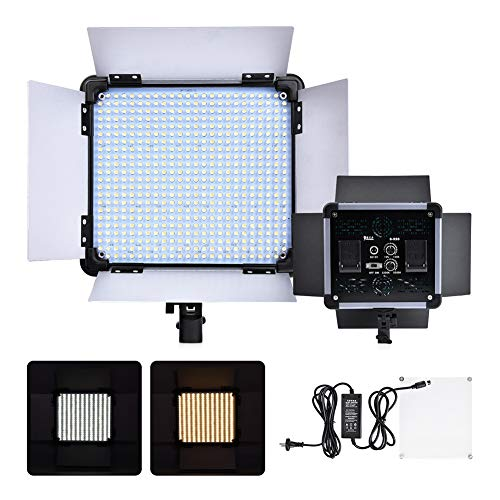 MXXQQ Kit de iluminación de fotografía portátil, luz de Video LED Regulable -5500K 524, Kit de iluminación de Video de 32W 1500 lúmenes, para Estudio de Video fotográfico de sobremesa/ángulo bajo
