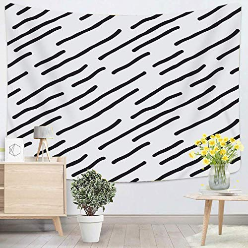 Tapestry Wall Hanging Wiggle Doodle With Diagonal Squiggle Lines Simple Abstract Any Use Wood Black Art Chakra Polyester Home Decorations For Bedroom Dorm Decor 50 X 60 Inches 80x60in(150x200in)