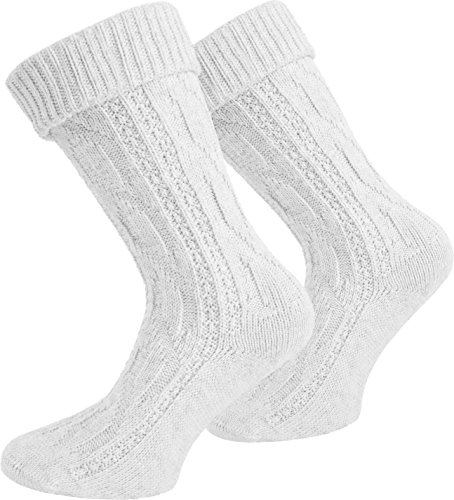 normani Leinen Socken Kniebundstrumpf Trachtensocken Farbe Weiß kurz Größe 39/42